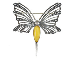 Vintage Sterling Silver Butterfly Baltic Butterscotch Eggyolk Amber Brooch/Pin - $53.99