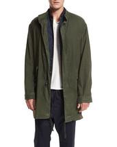 Vince M37614494 Men Olive Green Linen Canvas Utility Parka Jacket Coat L... - $119.99