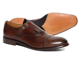 Handmade Men's Brown Monk Strap Leather Dress Shoes image 3