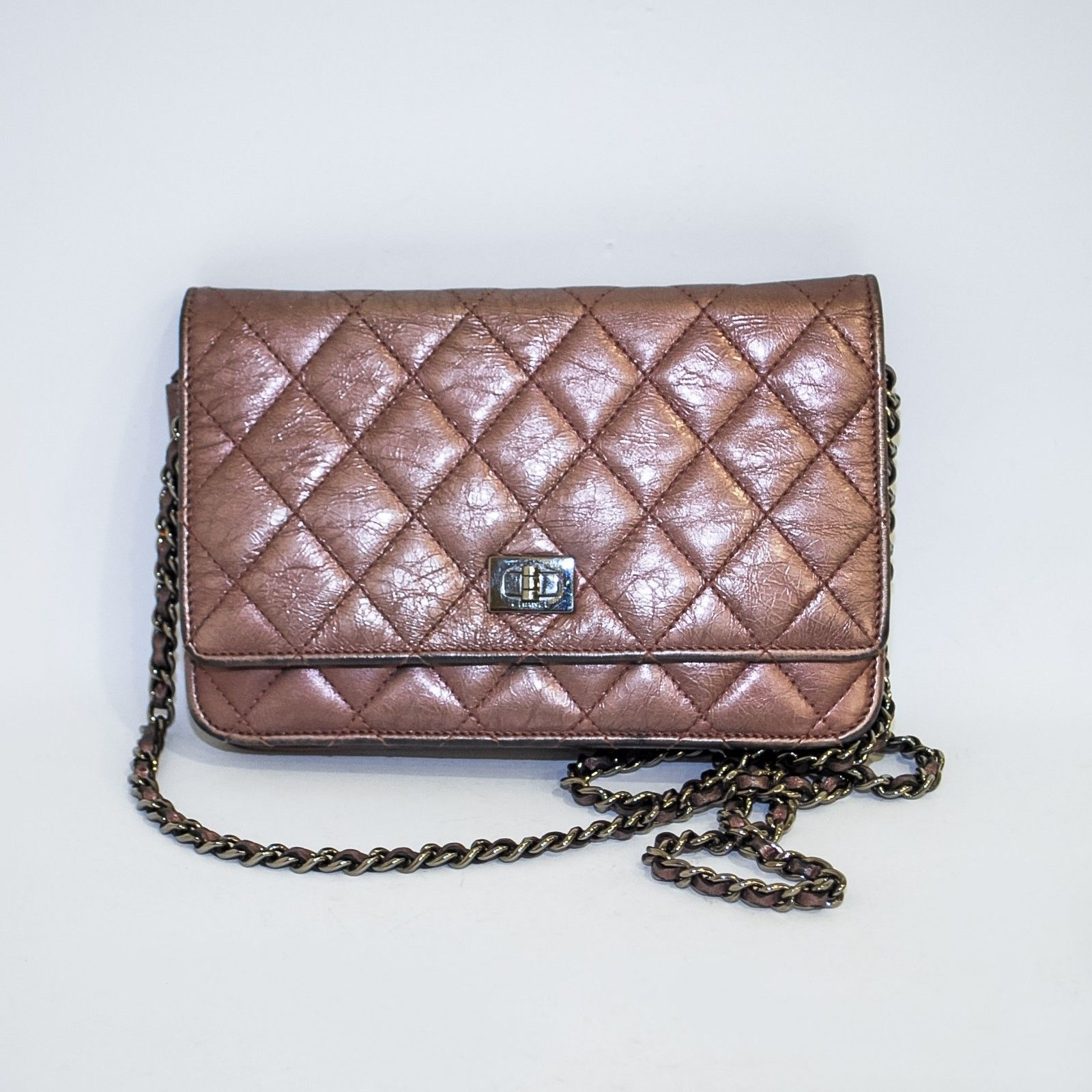 47720b173ea56e 57. 57. Previous. CHANEL Quilted Brown Bronze Wallet On Chain WOC Cross  Body Chain Bag Handbag