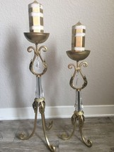 "Set of 2 Vintage HOLLYWOOD REGENCY Gold ORNATE Candle Holders 26"" & 21.5... - $59.40"