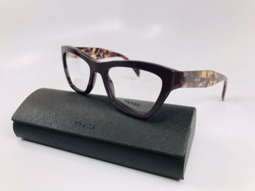 ⭐️ New Prada VPR 14Q ROM-1O1 Dark Purple & Violet Havana Eyeglasses 51mm w/Case