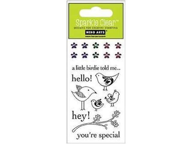 Primary image for Hero Arts Sparkle Hello Birdie Clear Stamp Set with Rhinestones #CL177