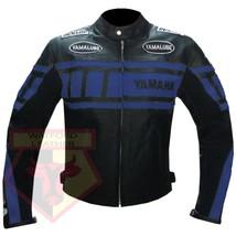 YAMAHA 0120 BLUE MOTORCYCLE MOTORBIKE BIKERS ARMOURED COWHIDE LEATHER JA... - $194.99