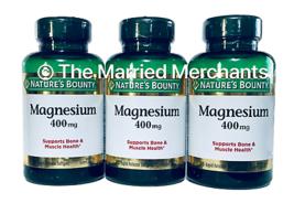 (3) Nature's Bounty Magnesium 400 mg 75 Rapid Release softgels ea 12/2022 FRESH! - $25.99