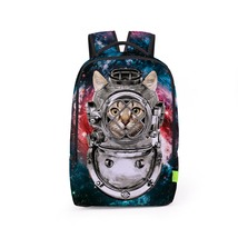 cute space cat paint leisure young student school travel bag - $494,58 MXN