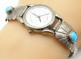 WILBUR WAUNEKA NAVAJO 925 Silver - Vintage Turquoise Watch Bracelet - B4713 - $98.27