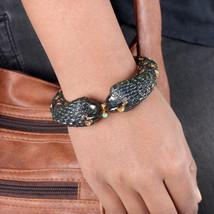 Fish Bangle Bracelet Diamond 1.37Ct Ruby Adjustable 14K Yellow Gold 925 ... - $1,660.66