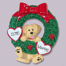 Yellow Labrador  PUPPY DOG  Hanging in Wreath Hand Painted RESIN Persona... - €11,09 EUR