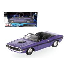1970 Dodge Challenger R/T Convertible Purple 1/24 Diecast Model Car by Maisto 31 - $28.33