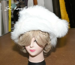 White Christmas Santa Hat Faux Fur Made in USA Adult Size - $33.25