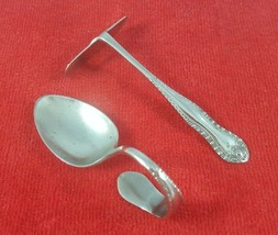 Vintage Curved Baby Spoon and Baby Food Pusher - Silverplate Sheffield England - $37.13