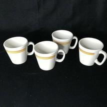 4 Shenango China Diner Mugs Stripe Orange Gold Restaurant Ware 5 Ounce V... - $34.60
