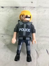 VTG 1997 Playmobil Geobra Police Figure In Uniform Blond Hair With Mic - $10.29