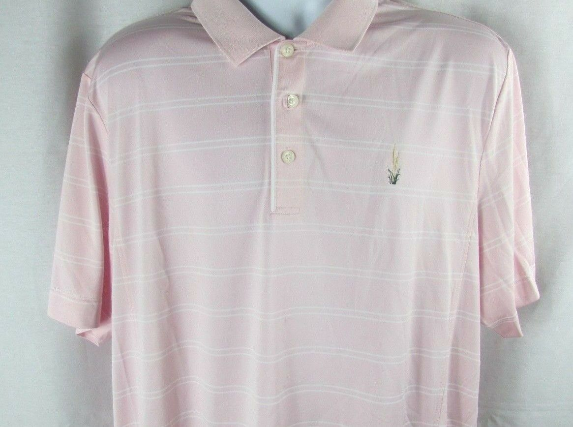 Primary image for Cutter & Buck Men's Drytec Pink striped Short Sleeve Polo Golf Shirt XL wicking