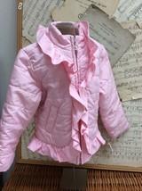 Gymboree Light Pink Lightweight Puffer Coat Jacket Girly Ruffles Xs 3-4 Hoodless - $24.06