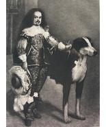 ORIGINAL ETCHING Print - SCARCE Spain Royal Dwarf Don Antonio Huge Dog - $43.20