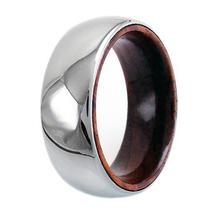 TUNGSTEN DOME RING W/ WOOD INSIDE BAND - $52.85