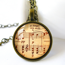 Retro Style Handmade Glass Dome Necklace, Sheet Music, C-275 - £5.95 GBP