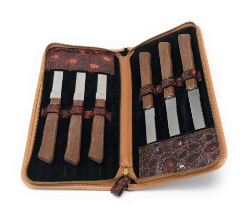 "Primary image for Vintage Set of 6 Steak Knives Marked ""Stainless Steel Japan"" in Zippered Case"