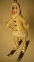 Vintage Inspired Spun Cotton Christmas, Winter Ornament Skier Girl No. 92 image 1