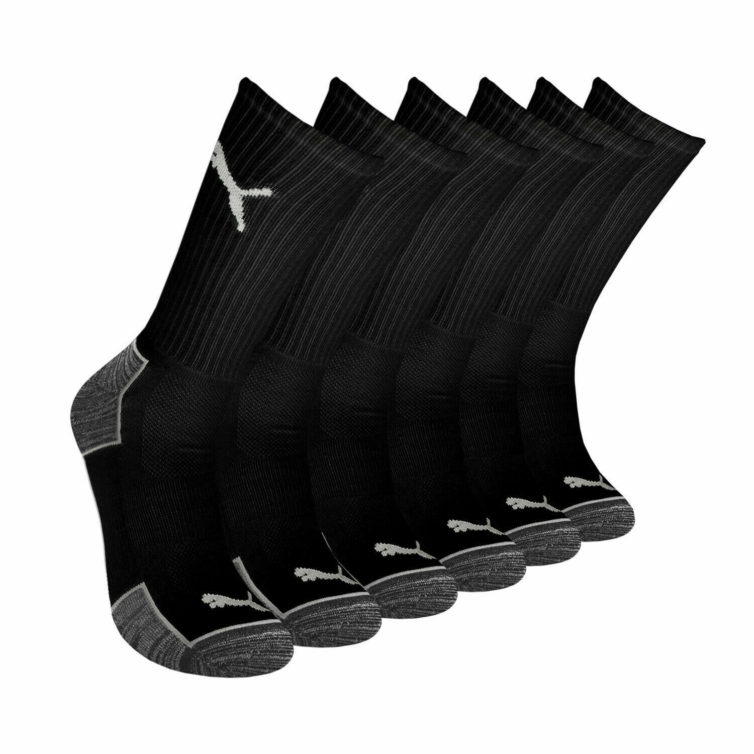 Puma Men's 6 Pack Sportstyle Crew Gym Mesh Ventilated Logo Solid Black Socks
