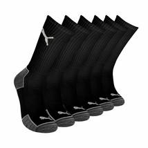 Puma Men's 6 Pack Sportstyle Crew Gym Mesh Ventilated Logo Solid Black Socks
