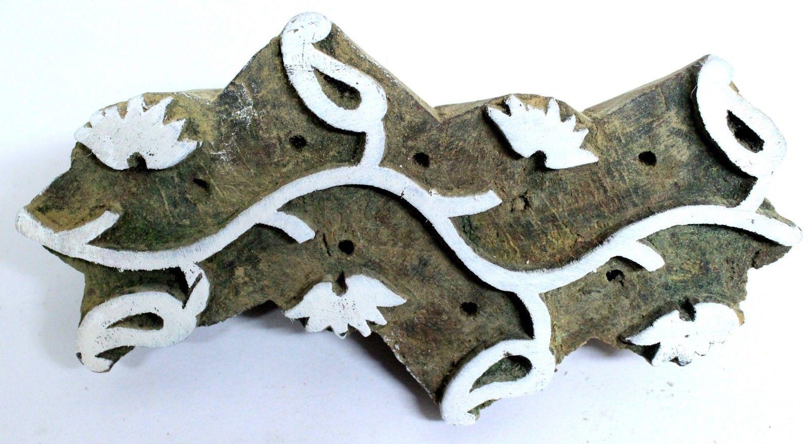 Textile Printing Wooden Block Vintage Hnadcurved Designer Stamp Block