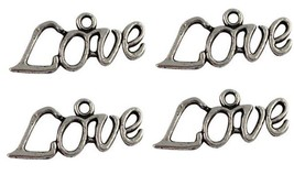 4 loVE Charms Antique Silver Tone Word Charm Antique Silver Tone 27x14mm - $6.05