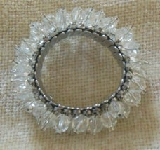 Vintage Clear Crystal Glass Bead Cluster Stretch Bracelet Signed Japan - $34.65