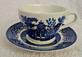Blue and white Teacup and Saucer Blue Willow Georgian Shape Churchill En... - $6.64