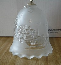 Christmas Dinner Bell Santa Reindeer Sleigh Star Clear/Frosted Glass Mikasa - $18.32