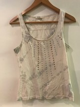 Forever 21 Womens Tank Top Small Cream White Gray Batik Print Studded Sleeveless - $12.95