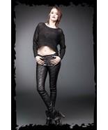 Women's Goth Pants Vegan Leather Lace up Skinny Punk Trousers Streetwear... - $86.59