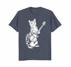 Men Funny Cat Playing Bass T shirt Cool Musician - $16.99+