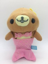 SAN-X Mamegoma Shimagoma Brown Smile Pink Mermaid Hawaii Plush Doll RARE - $21.93