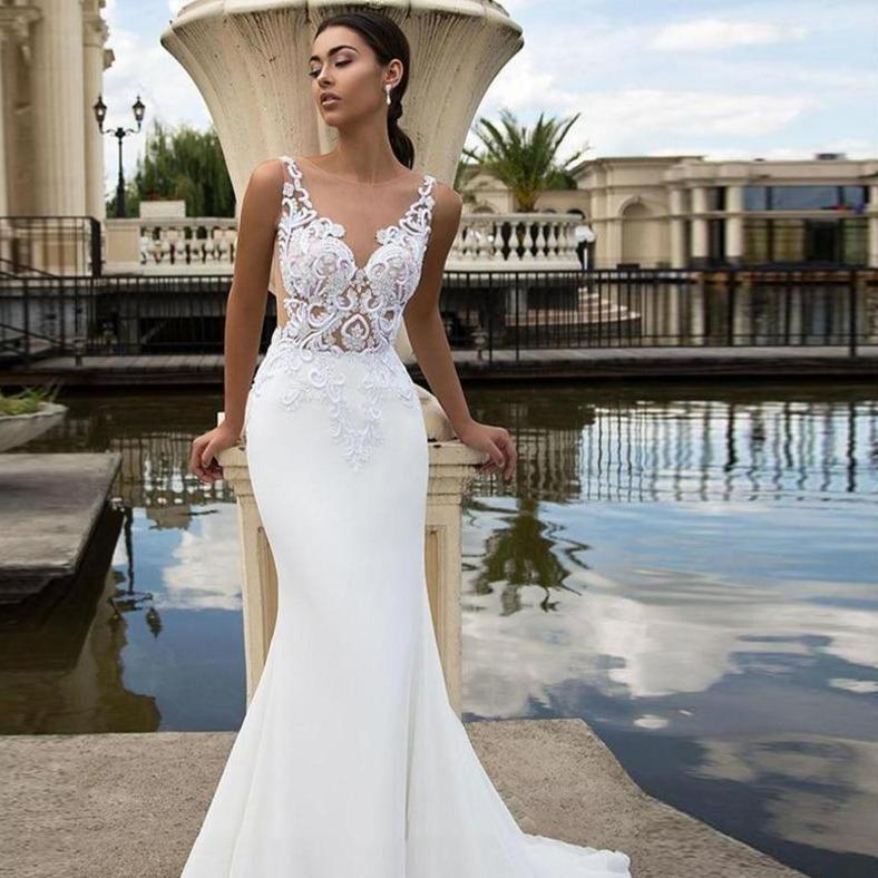 Chiffon mermaid wedding dresses beach sleeveless back illusion lace bridal gown princess wedding