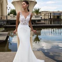New Sexy Sleeveless Illusion Open Back Princess Mermaid Trumpet Wedding Dress
