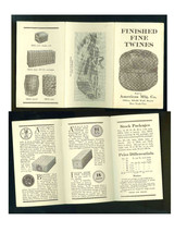 ANTIQUE BROCHURE-FINISHED FINE TWINES-AMERICAN MFG CO WALL STREET NYC - $19.99