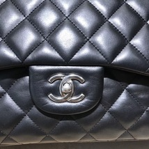 AUTHENTIC CHANEL BLACK LAMBSKIN QUILTED JUMBO DOUBLE FLAP BAG SILVER HARDWARE image 3