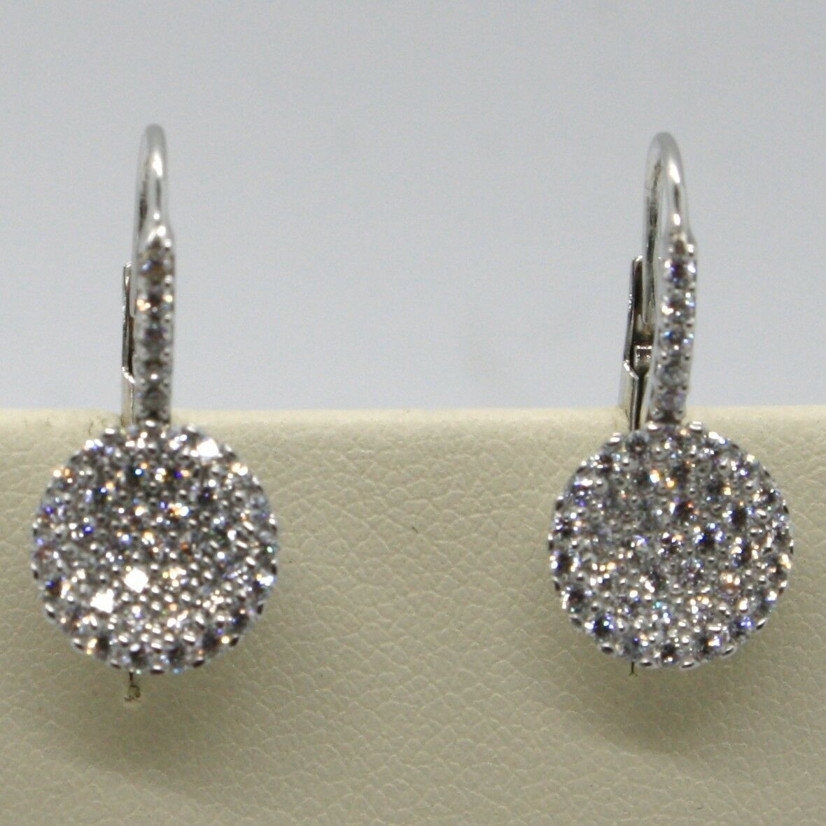 18K WHITE GOLD LEVERBACK EARRINGS, CIRCLE ZIRCONIA DISC LENGTH 20 MM, ITALY MADE