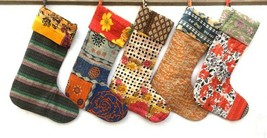 New Wholesale Lot Vintage Kantha Quilt Christmas stockings Cotton Indian - $14.69
