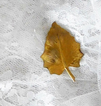 "Vintage Leaf Scarf Lapel Pin   Gold Color 2"" x 1 1/2"" - $9.59"