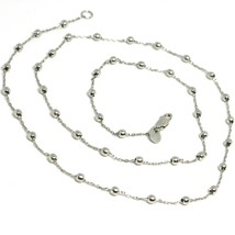 18K WHITE GOLD MINI BALLS CHAIN 2 MM, 18 INCHES SPHERE ALTERNATE OVAL ROLO LINK image 1