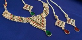 Indian Bridal Fashion Red Green Pearl Rhinestone Necklace Earrings Jewelry Set - $17.00