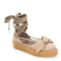 New Fenty by PUMA Bandana Cream Leather Bow Creeper Flats Size 9 - £45.55 GBP