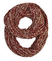 Le Nom Wavy Ribbed Crochet Knitted Infinity Scarf (Red) - $12.86