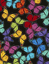 Colorful Butterflies Toss Timeless Treasures 100% cotton Fabric by the yard - $14.69