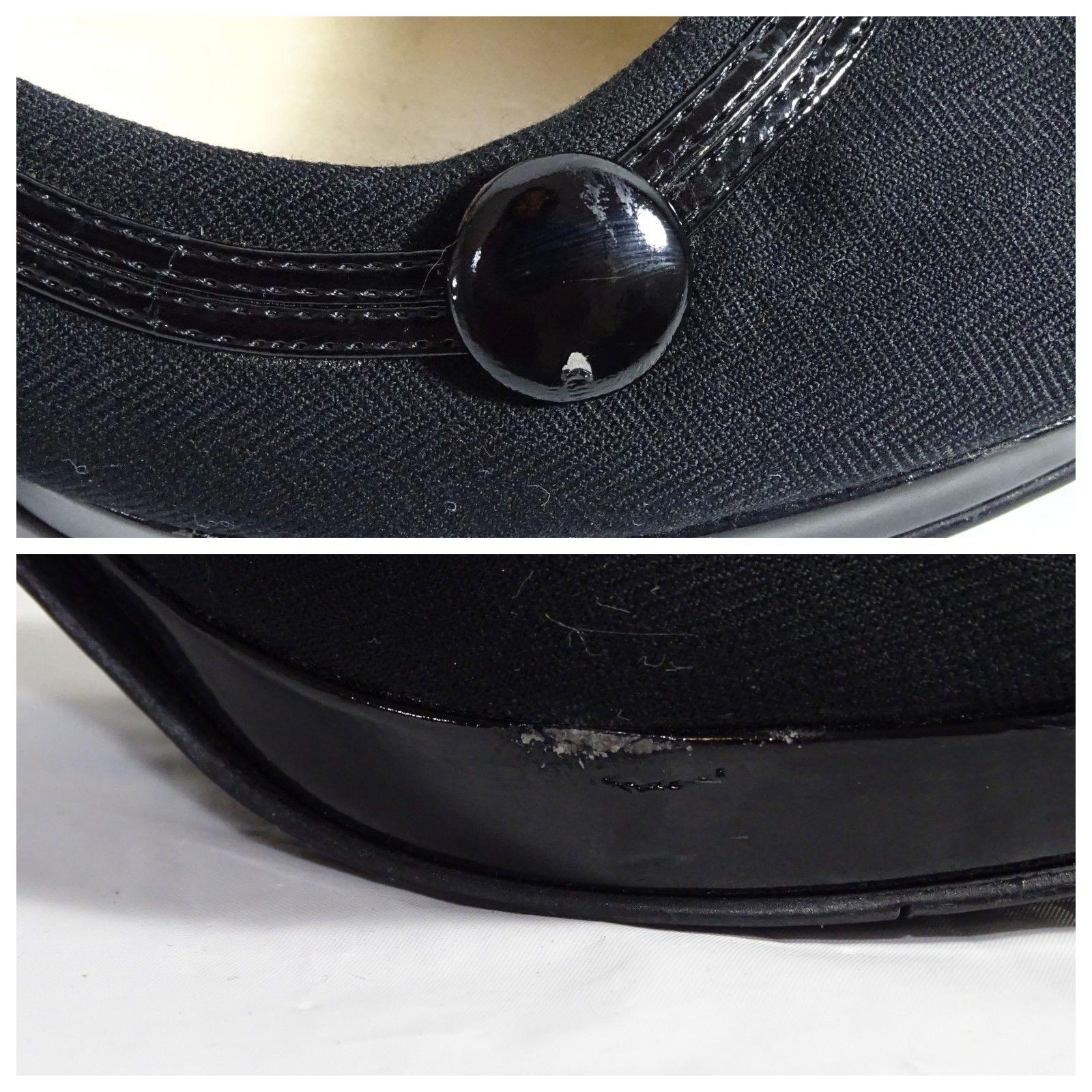 Nine West Canvas Pumps Shoes Heels Women Size 7M Black Herringbone 3.5 inch Heel