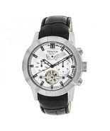 Heritor Automatic Hannibal Semi-Skeleton Leather-Band Watch - Silver - $935.00